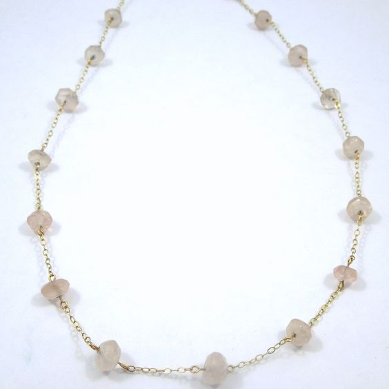 14k Yellow Gold Necklace with Rose Quartz Beads. - $350