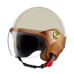 Laura-Smith-LS-Trendy-Fashion-Motorcycle-Scooter-Vespa-Helmet-Cream-Size-Large
