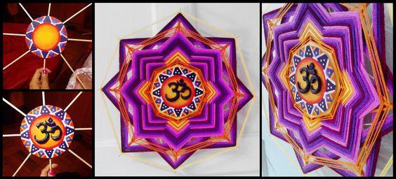 Mandala de lana con centro de madera pintado en acrilico y relieve de masilla