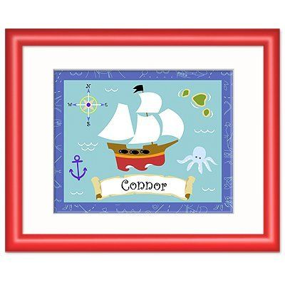 Pirates Red Personalized Print by Olive Kids. $56.99. Please enter personalization request in the gift message section at checkout.. Ready to hang.. Frame: 12 x 15 with an 8 x 10 print.. Clipper ship with name centered underneath. Solid wood frame, red with white mat and glass.. Save 13% Off!