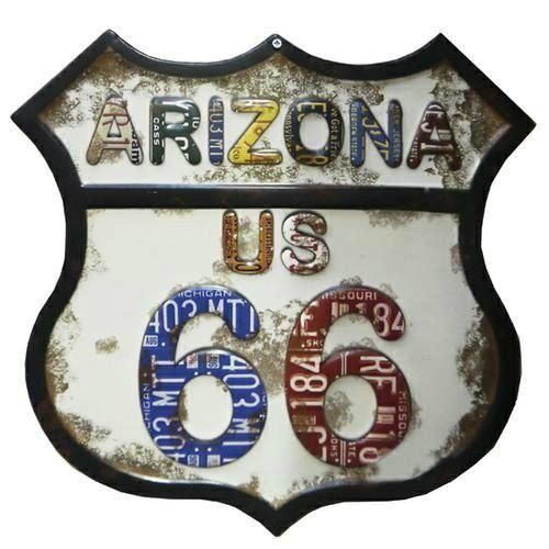 Placa Metal Vintage Arizona 66