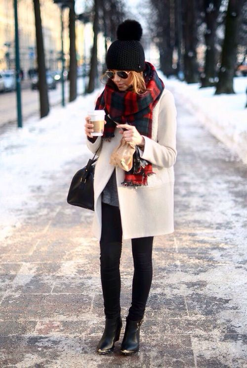 chunky plaid scarf + pom beanie: