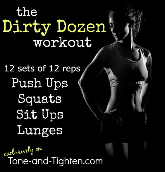 """Are you strong enough for the """"Dirty Dozen""""? 12 sets of 12 reps of four of my favorite body-weight exercises. From Tone-and-Tighten.com"""