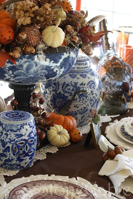 Thanksgiving tablescape in blue and white...with brown transferware