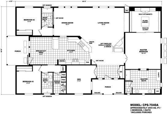 Cavco Home Center Albuquerque In Albuquerque New Mexico Floor Plan Cps 7040a Profile Seri Floor Plans Manufactured Homes Floor Plans Modular Floor Plans