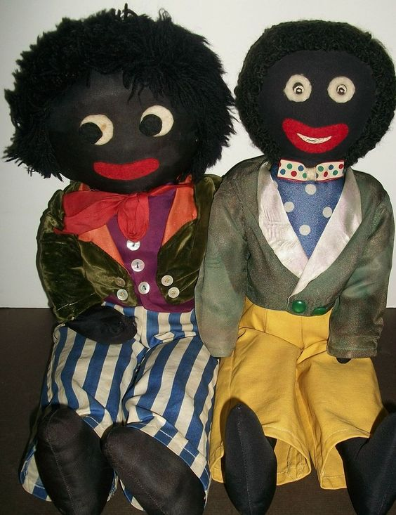 Great Pair of Early Vintage Black Cloth Golliwogs Dolls. My Memaw has tons of these!