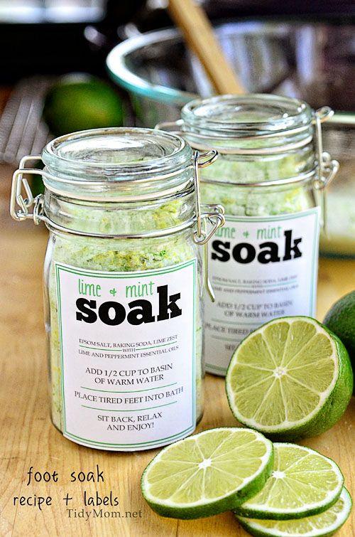 DIY Foot Soak Recipe + Free printable label at TidyMom.net: Essential Oil, Foot Soak, Diy Gift