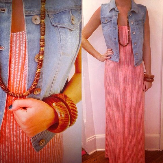 We have the perfect casual outfit for brunch on the beach or cocktails on rooftop. We love our coral maxi paired with our denim vest and wooden accessories for a simple, chic look. Call to order this entire look or stop by the store to shop it. Free in store pick up 706-353-1322.
