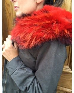 On Parle De Vous  Red Fox Fur Trimmed Hooded  Parka