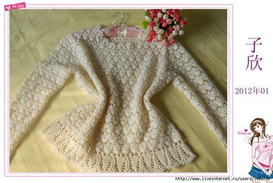 TRICO y CROCHET-madona-mía: Jersey mujer paso a paso a crochet ( modelo chino)