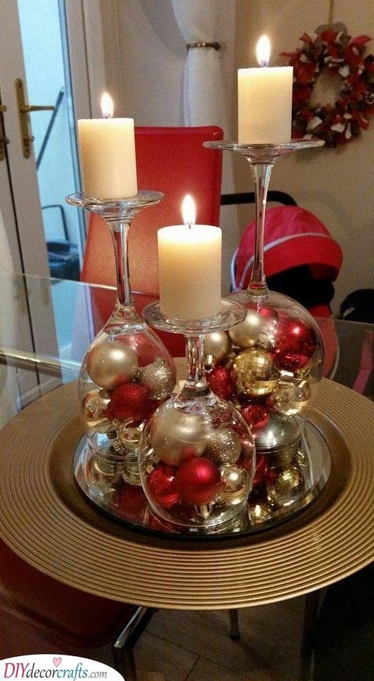 Reusing Wine Glasses Candles And Ornaments Christmas Candle Decorations Dollar Store Christmas Christmas Decor Diy