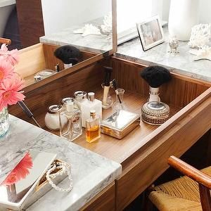 TerraCotta Properties - bathrooms - vintage vanity, vanity, marble vanity, marble-top vanity, white carrara marble, white carrara marble countertop, peonies, make-up vanity, vanity with pop up mirror, marble top vanity,