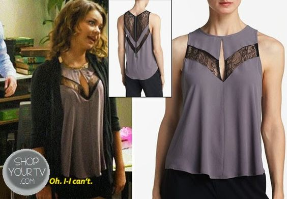 Hayley Dunphy (Sarah Hyland) wears this Grey silky tank with keyhole and lace details in this week's episode of Modern Family.