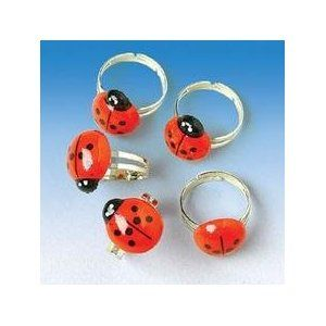 "12 Adorable LADYBUG Rings/Adjustable Children's BIRTHDAY PARTY FAVORS/3/4""/LADY Bug/INSECTS"