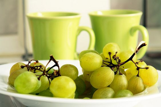 Grapes and Two Cups of Tea #photography #photo #grapes