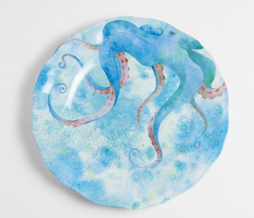We love these bright Blue Octopus indoor-outdoor salad size plates that are…