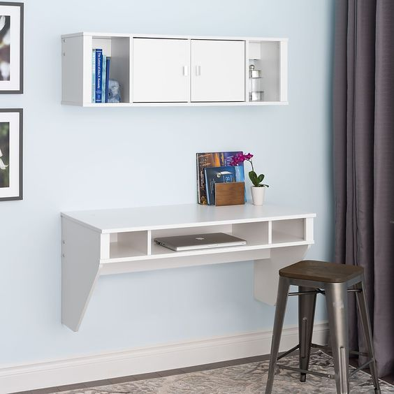 Prepac Standard Designer Floating Desk, White (WEHW-0500-1)
