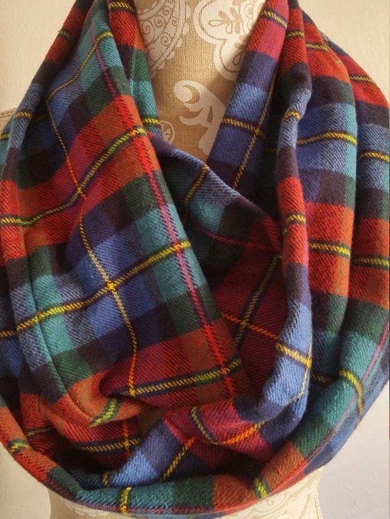 Chunky Plaid Flannel Infinity Scarf Autumn by ScarvesBuySharon
