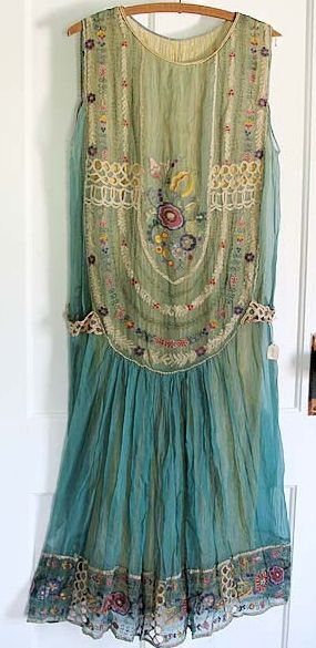 1920s embroidered chiffon dress.: