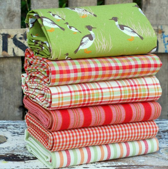 Rustic Fat quarter fabric bundle - 100% cotton - Birds ducks checks stripes in white red green orange - $29.50 #patchwork #quilting #sewing #craft