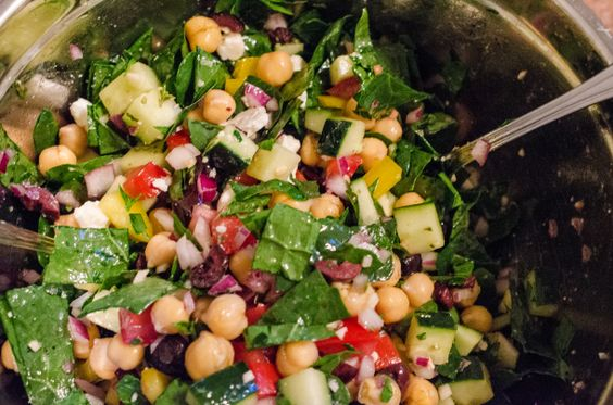 Mediterranean Kale Salad - similar to the one found at Whole Foods salad bar.