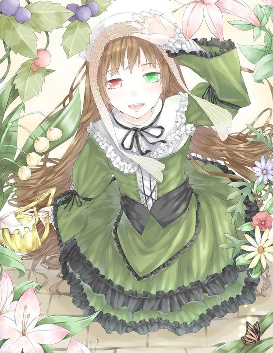 Anime heterochromia / odd eyes red green (Suiseiseki rozen maiden)