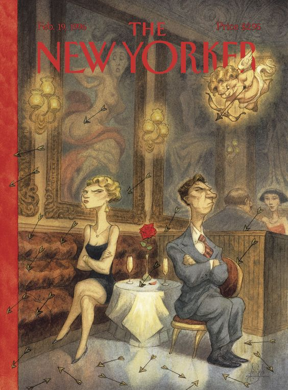 """The New Yorker - Monday, February 19, 1996 - Issue # 3695 - Vol. 72 - N° 1 - Cover """"Cupid's Valley"""" by Peter de Sève"""