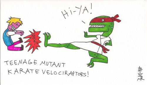Count Fivefingers is no match for the Teenage Mutant Karate Velociraptors!