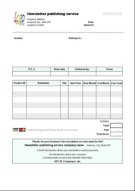 credit card invoice template – residers, Invoice templates