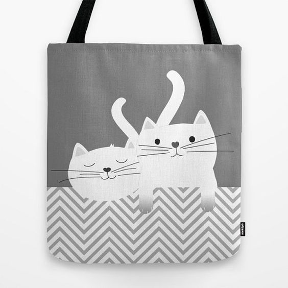 Cats tote bag personalized Small Medium Large Cute Gift by Narais