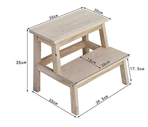 All Solid Wood Household Step Stool Dual Use Multifunction Indoor Ladder Wooden Mobile Rack Shoe Bench Color Wood Color Step Stool Stool Wood Colors