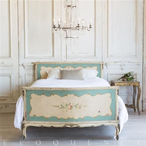 French Country Style Vintage Bed: 1940 by Eloquence. GustavusSwedish decor inspiration, French and Gustavian Design Style from Eloquence. #swedish #interiordesign #frenchcountry #gustavian #nordic #decoratingideas #whitedecor #eloquence #furniture