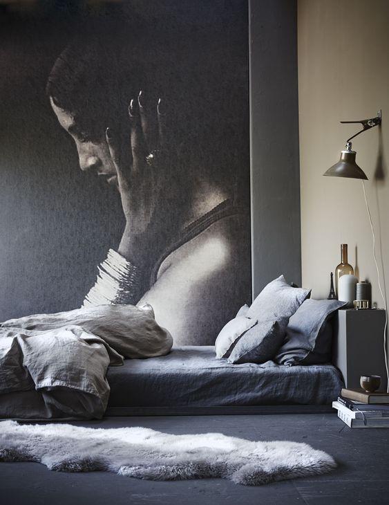 Slaapkamer met warme grijs en bruintinten bedroom with warm