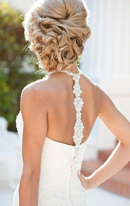 Wedding Dress Back Detail and Hairstyle
