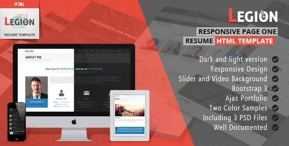 Legion One Page Resume Responsive HTML Template - resume html template