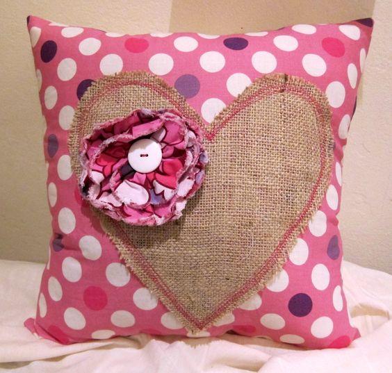 Burlap Valentine Pillow