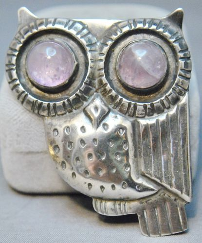 Vintage William Spratling Mexican silver owl brooch with huge cabochon amethyst eyeballs