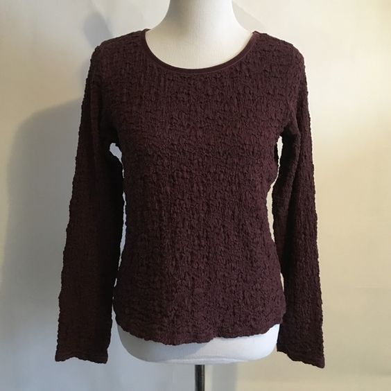 """J. Jill Puckered Shirt. Bundle for 25% discount Long sleeve top featuring velvety trim neckline. Puckered fabric is stretchy. Shoulders  15"""", Chest 20"""" pit to pit, Length 22"""", Sleeves 25"""". Good condition. J. Jill Tops"""