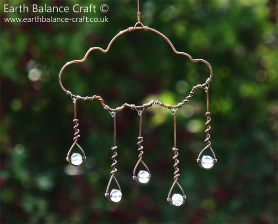 Rain Cloud Hanging Decoration - A copper wire cloud shaped ornament with five little blue grey glass raindrops falling to the ground.