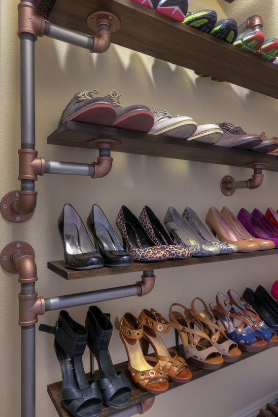 Iron pipe shoe rack: