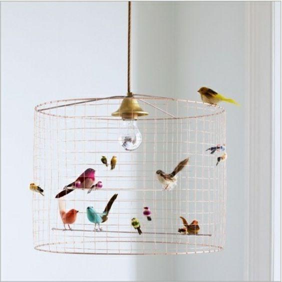 vogelkäfig - design von lampe - interessantes kinderzimmer