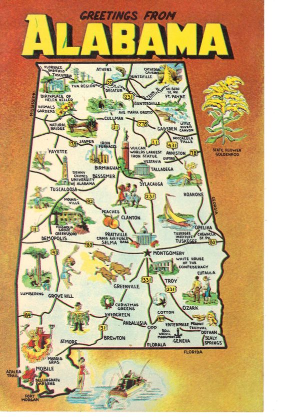 Vintage State Map Postcards Greetings from Alabama – Alabama Tourist Attractions Map