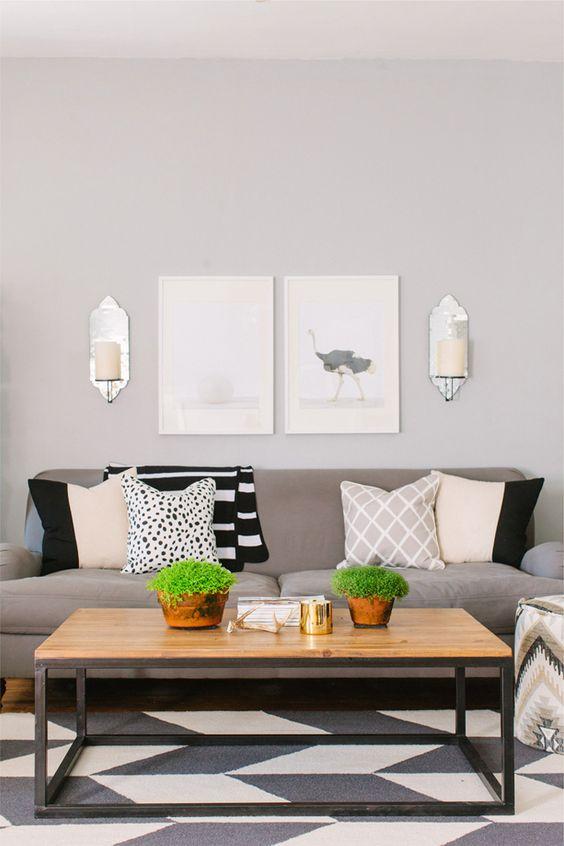 Alaina Kaczmarski Chicago Apartment Tour Living Room Grey White