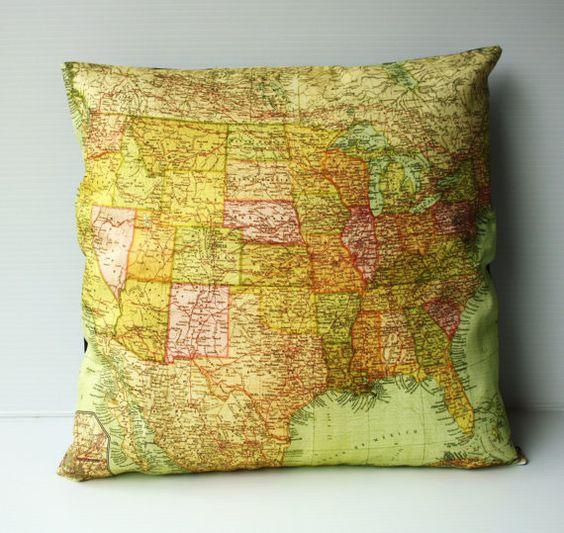 USA map cushion, organic cotton: Awesome Map, 16X16 Pillow, Map Pillows, Map Cushion