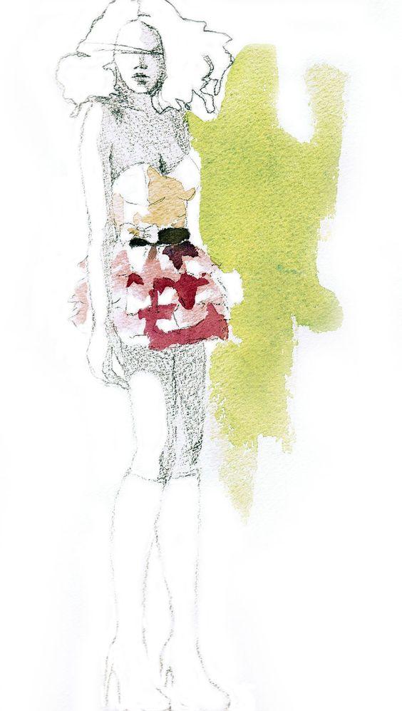 Fashion illustration by Andrea Castro. Watercolor and pencil.