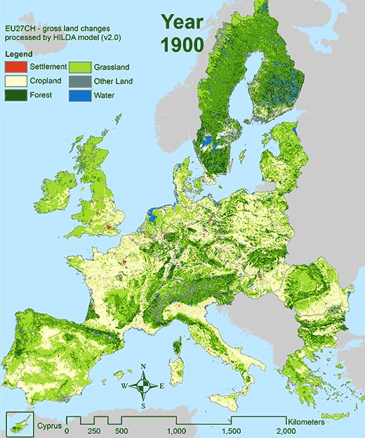 Landscape Changes in the EU EU27 since 1900 by Spiegel map – Map of Europe Today
