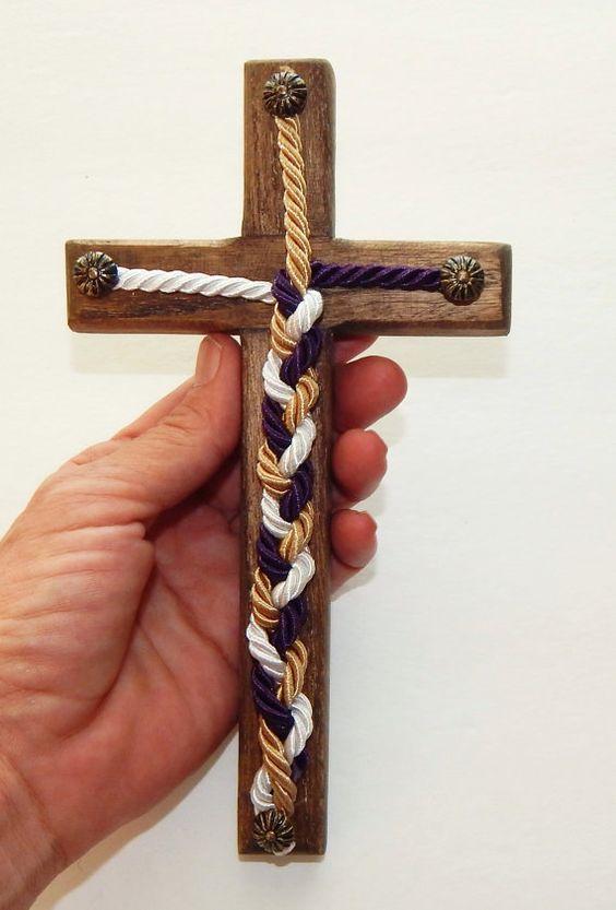 Unity Braids® Mini Unity Braids Wood Cross Cord of Three