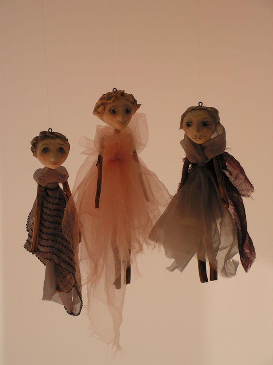 Puppen Modelliermasse/Holz/Stoff