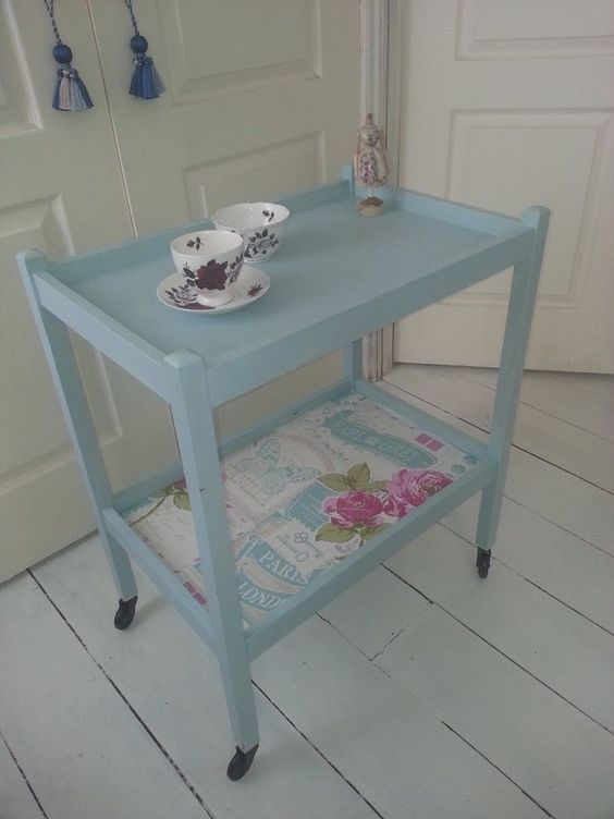 VINTAGE WOODEN TEA TROLLY IN DUCK EGG ON CASTERS END TABLE