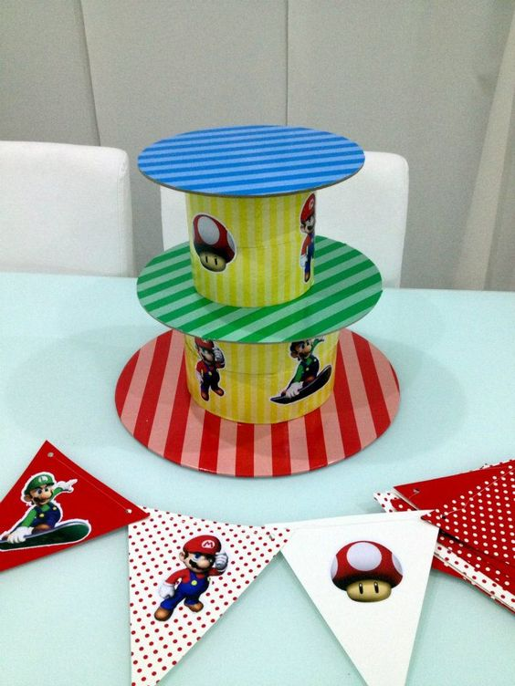 DIY Mario Brothers themed cake stand